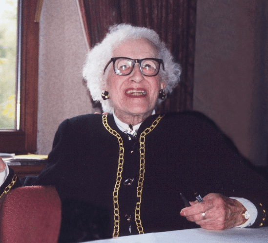 photo of Elizabeth Gladys Dean signing autographs at the British Titanic Society Titanic Convention, Hilton Hotel, Southampton, U.K., 1999