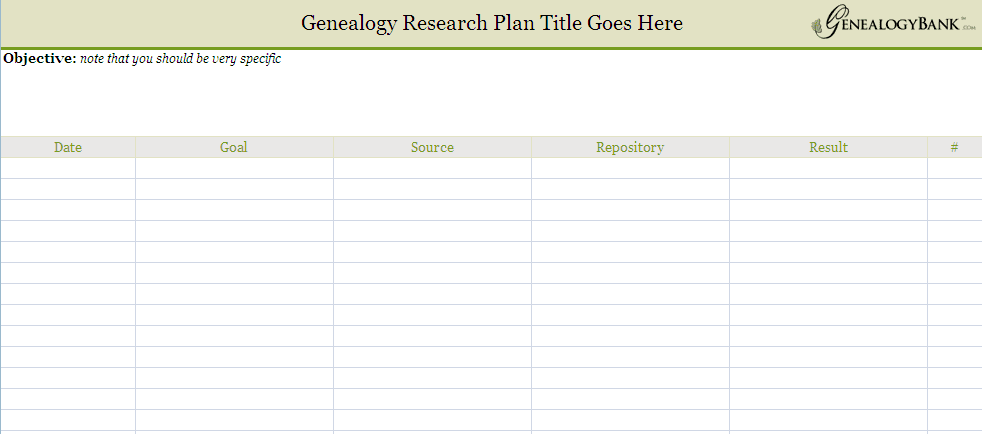 screenshot of a genealogy research log