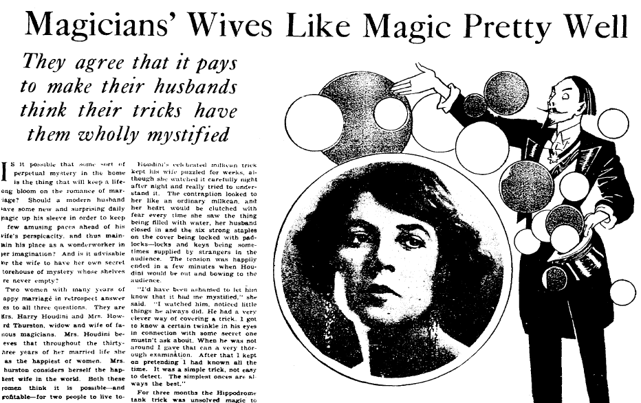 Magicians' Wives Like Magic Pretty Well, Plain Dealer newspaper article 5 August 1928
