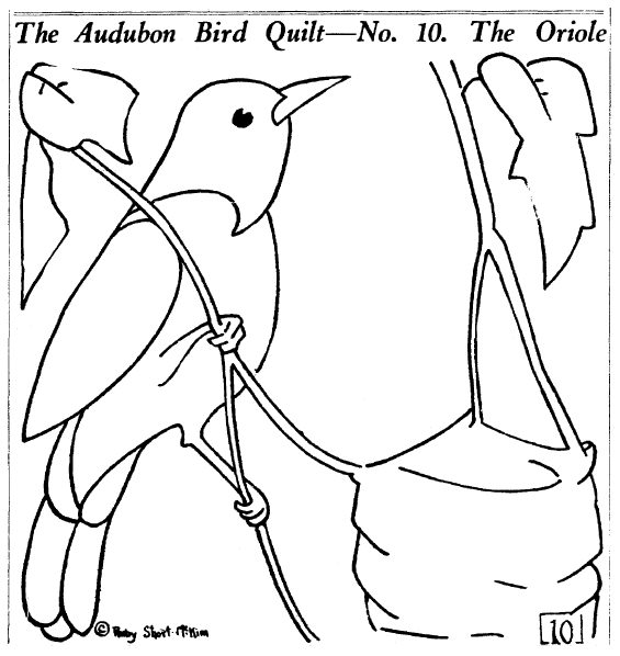 quilt block pattern for the Audubon Bird Quilt showing an oriole, Plain Dealer newspaper article 9 December 1928