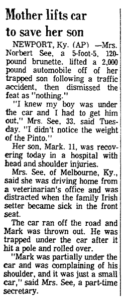 Mother Lifts Car to Save Her Son, Register-Republic newspaper article 27 January 1972