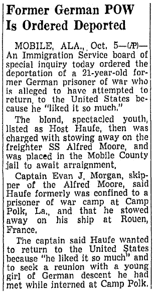 article about WWII German POW Host Haufe, Richmond Times Dispatch newspaper article 6 October 1946