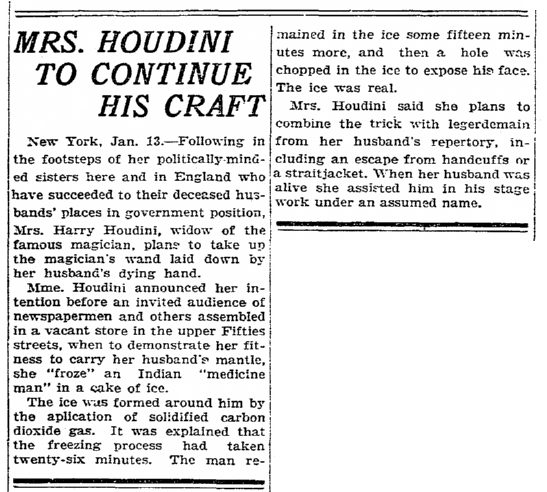 Mrs. Houdini to Continue His Craft, Rockford Republic newspaper article 13 January 1928