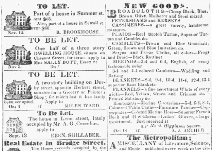 classified ads, Salem Gazette newspaper advertisements 19 November 1833