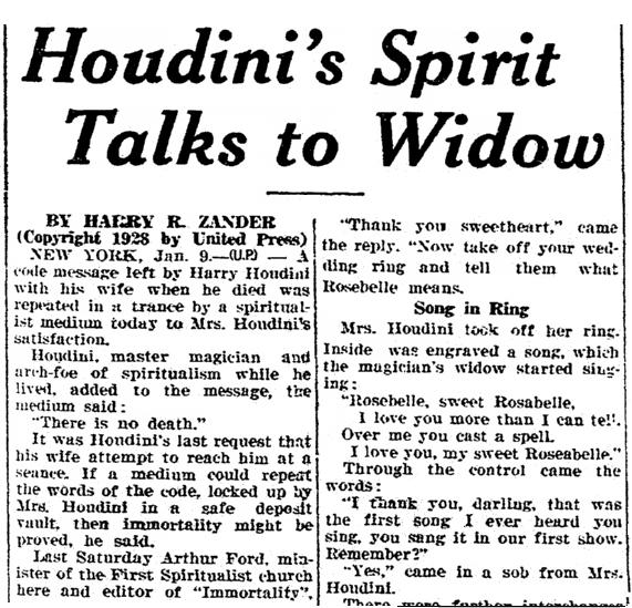 Houdini's Spirit Talks to Widow, San Luis Obispo Daily Telegram newspaper article 9 January 1929