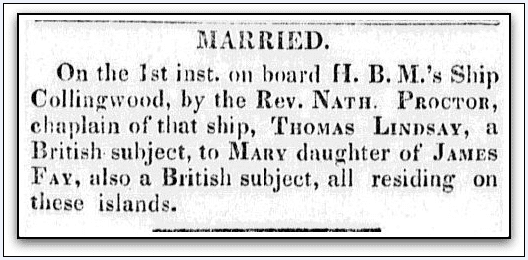 wedding announcement for Thomas Lindsay and Mary Fay, Sandwich Island News newspaper article 9 September 1846