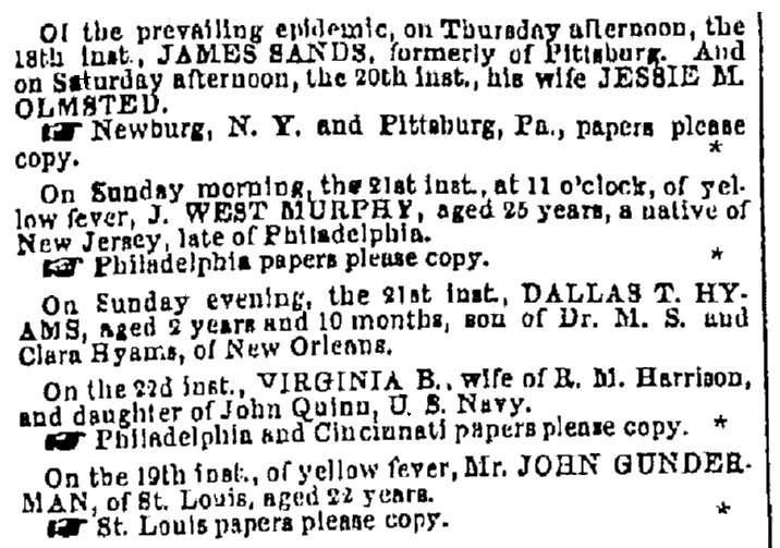 death notices, Times-Picayune newspaper article 23 August 1853