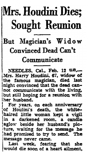 obituary for Bess Houdini, Trenton Evening Times newspaper article 12 February 1943