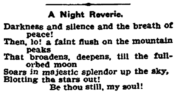 "opening stanza of the poem ""A Night Reverie"" by June Century, Trenton Evening Times newspaper article 14 June 1905"