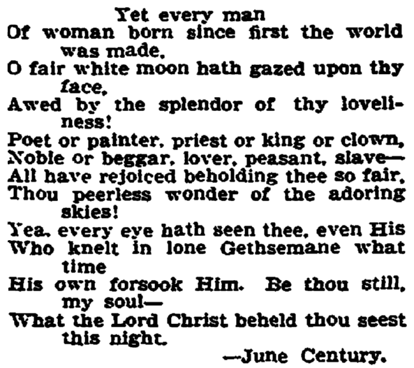 "closing stanza of the poem ""A Night Reverie"" by June Century, Trenton Evening Times newspaper article 14 June 1905"