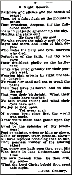 "the poem ""A Night Reverie"" by June Century, Trenton Evening Times newspaper article 14 June 1905"