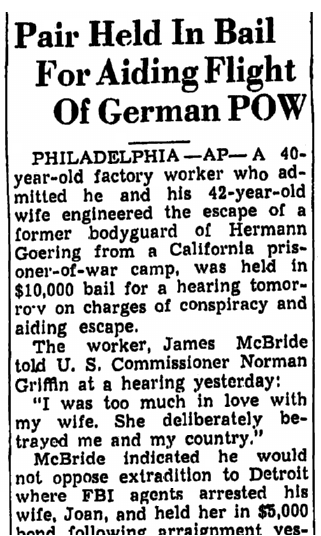 article about escaped WWII German POW Rudolph Joseph Soelch, Trenton Evening Times newspaper article 18 September 1946