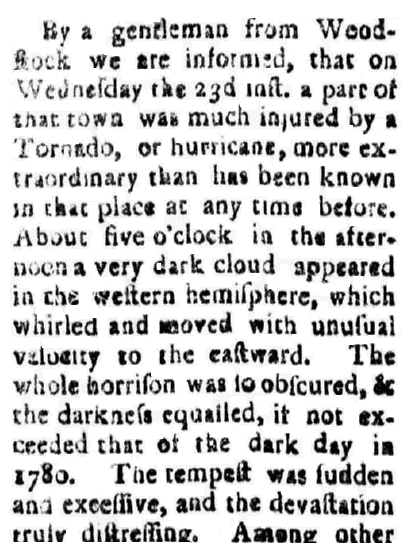 article about a tornado, Vermont Gazette newspaper article 25 September 1786