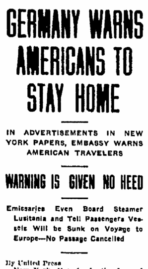 article about the warning Germany gave before the Lusitania departed from New York, Aberdeen Daily News newspaper article 1 May 1915