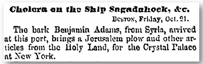 "shipping news about the ship ""Benjamin Adams"" and cholera, Albany Evening Journal newspaper article 22 October 1853"