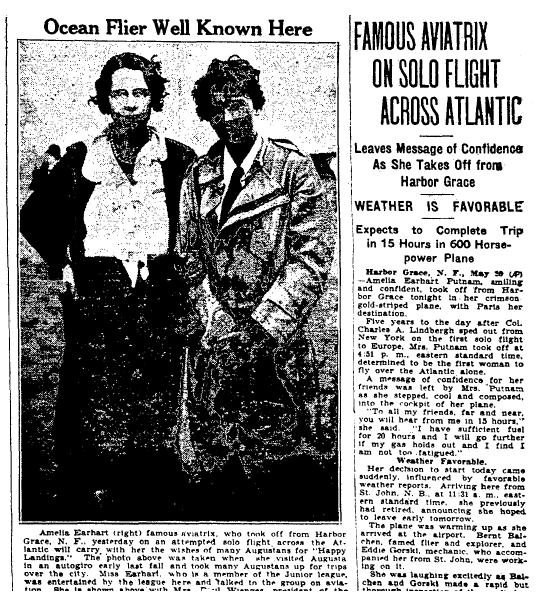 article about Amelia Earhart flying solo across the Atlantic, Augusta Chronicle newspaper article 21 May 1932