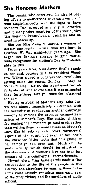 article about Anna Jarvis and Mother's Day, Augusta Chronicle newspaper article 27 November 1948