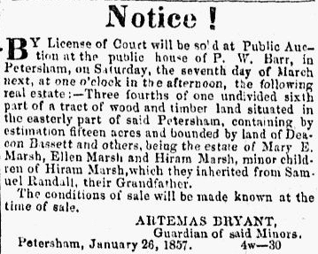 land sale notice by Artemas Bryant, Barre Gazette newspaper article 13 February 1857