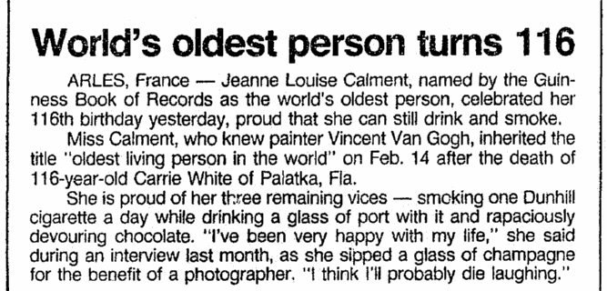 article about Jeanne Calment celebrating her 116th birthday, Boston Herald newspaper article 22 February 1991