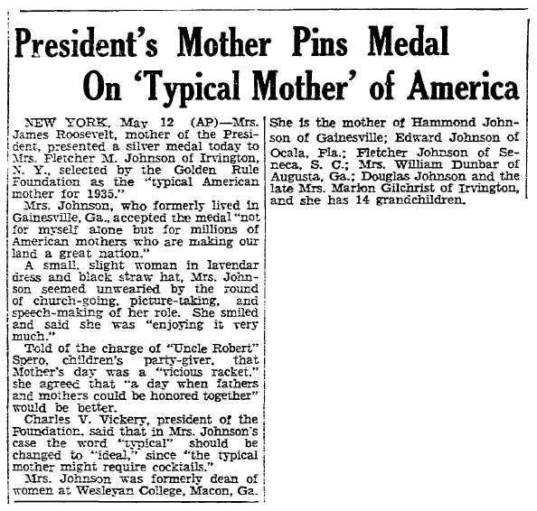 article about Mother of the Year Lucy Keen Johnson, Boston Herald newspaper article 13 May 1935