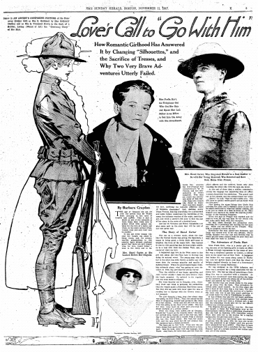 article about Hazel Carter and Freda Hart disguising themselves as men to go fight in WWI, Boston Herald newspaper article 11 November 1917