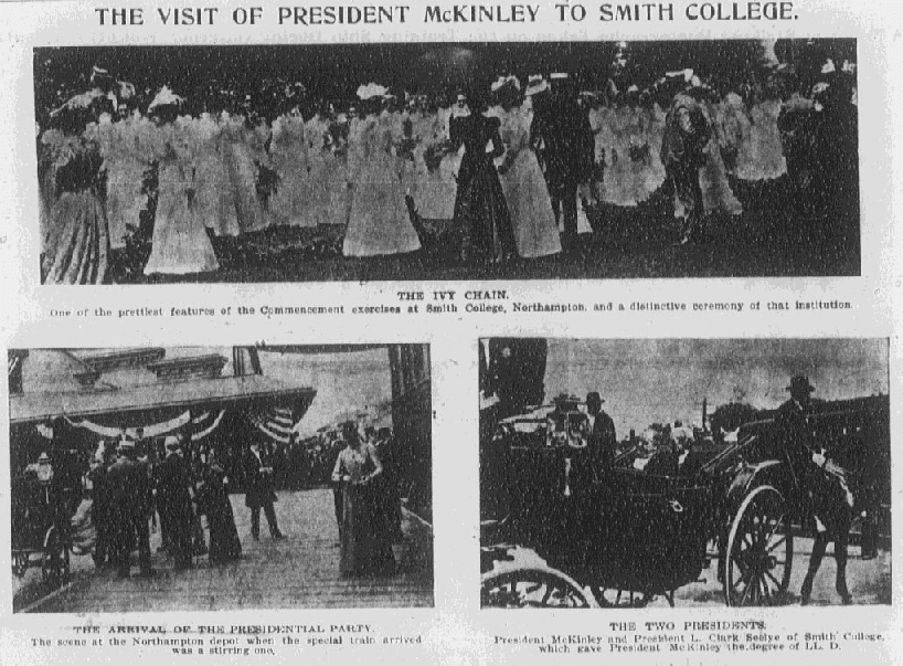 photos of President McKinley attending Smith College's commencement exercises, Boston Journal newspaper article 25 June 1899