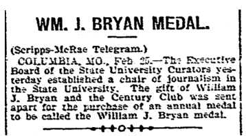 article about the William Jennings Bryan Medal, Cincinnati Post newspaper article 25 February 1898
