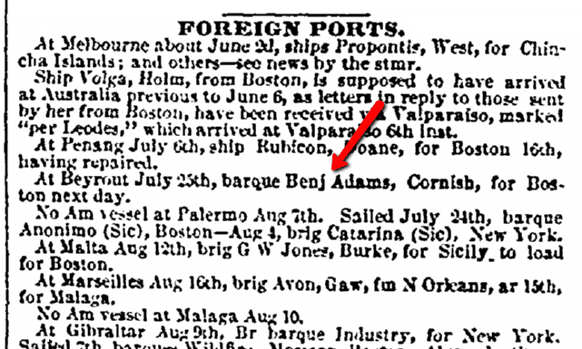 "shipping news about the ship ""Benjamin Adams,"" Daily Atlas newspaper article 1 September 1853"