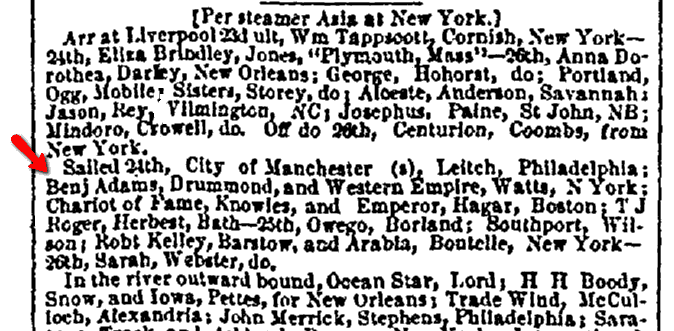 "shipping news about the ship ""Benjamin Adams,"" Daily Atlas newspaper article 10 September 1853"