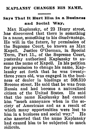 name change notice for Max Kaplansky, Daily People newspaper article 25 September 1901