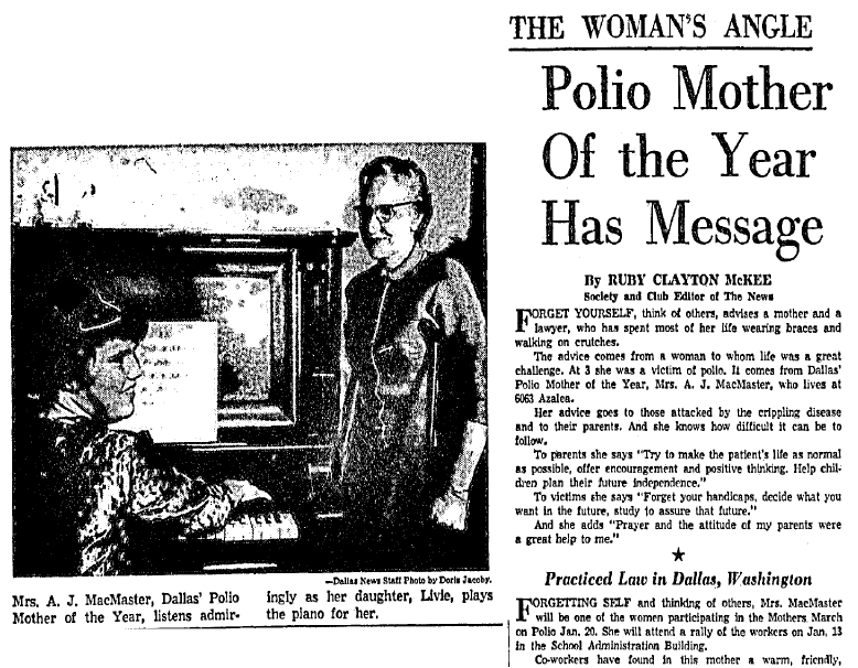 article about 1958 Dallas Polio Mother of the Year Mrs. A. J. MacMaster, Dallas Morning News newspaper article 2 January 1958