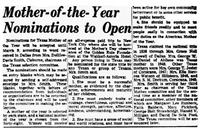 article about nominations for the Texas Mother of the Year award, Dallas Morning News newspaper article 16 January 1949