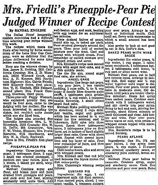 article about a recipe contest, Dallas Morning News newspaper article 9 March 1951