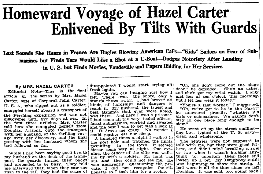 article about Hazel Carter disguising herself as a man to go fight in WWI, Evansville Courier and Press newspaper article 26 August 1917