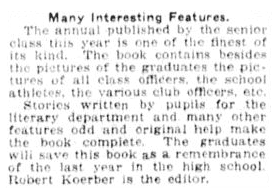 article about the local high school's yearbook, Fort Wayne News Sentinel newspaper article 7 June 1921