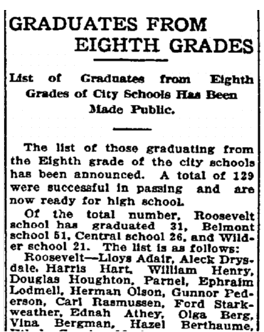 Graduates from Eighth Grades, Grand Forks Daily Herald newspaper articles 20 June 1911