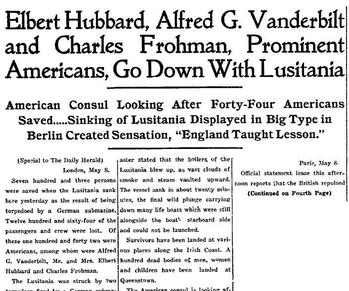 article about Germany sinking the Lusitania, Gulfport Daily Herald newspaper article 8 May 1915