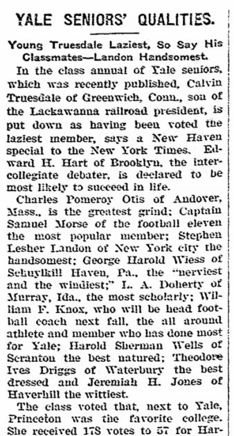 Yale Seniors' Qualities, Hemet News newspaper article 5 July 1907