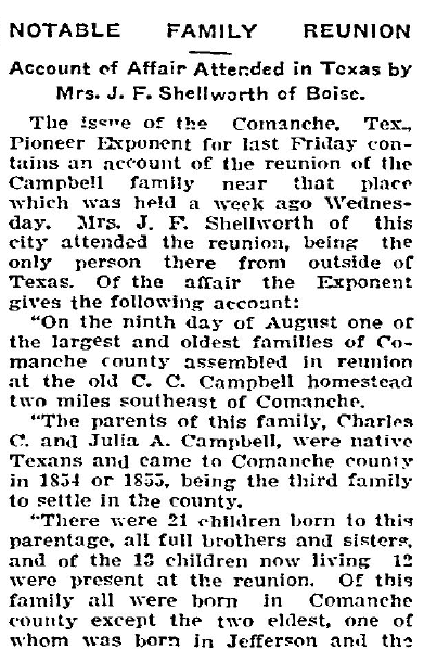 article about the Campbell family reunion, Idaho Statesman newspaper article 18 August 1905