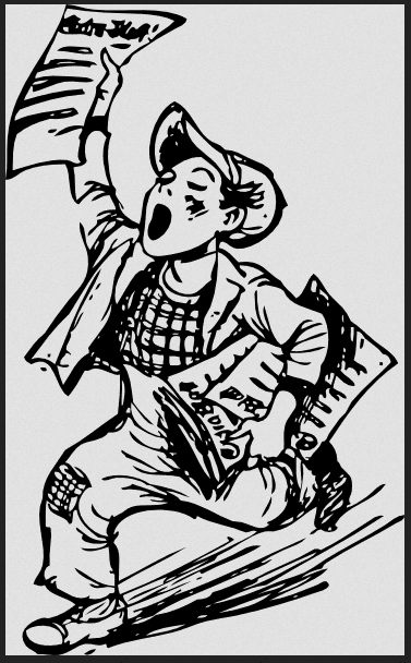 illustration of a newspaper boy