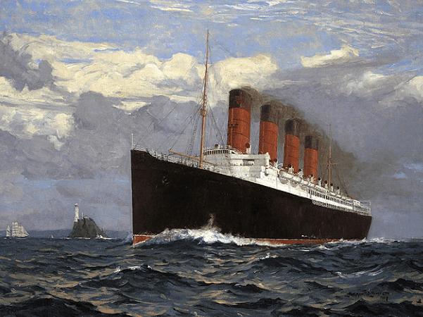 "Illustration: ""Lusitania"" by Norman Wilkinson, 1907. Credit: Bonhams; Wikimedia Commons."