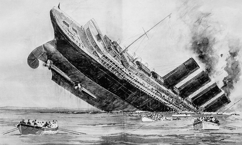 "Illustration: sinking of the Lusitania; engraving by Norman Wilkinson for the 15 May 1915 issue of ""The Illustrated London News"""