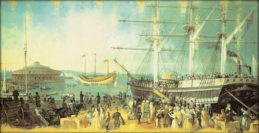 """painting: """"The Bay and Harbor of New York"""" by Samuel Waugh (1814-1885)"""