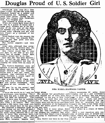 article about Hazel Carter disguising herself as a man to go fight in WWI, Kalamazoo Gazette newspaper article 30 July 1917