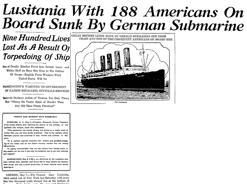 article about Germany sinking the Lusitania, Lexington Herald newspaper article 8 May 1915
