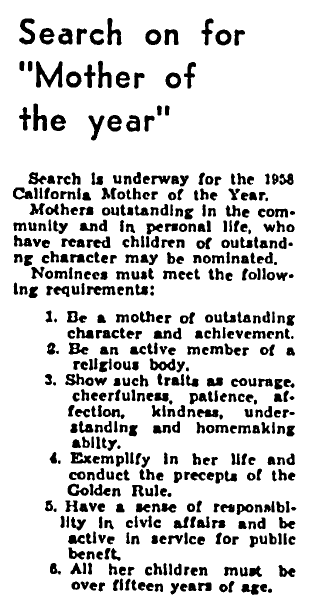 article about nominations for the California Mother of the Year award, Los Angeles Tribune newspaper article 14 February 1958