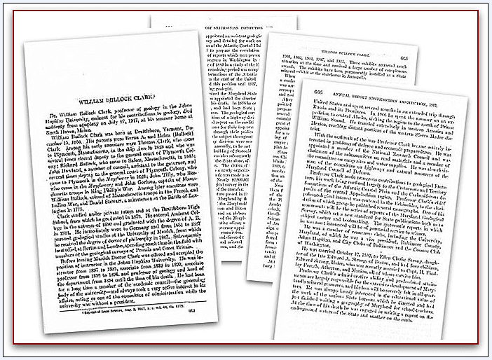 montage of the four pages of William Clark's obituary