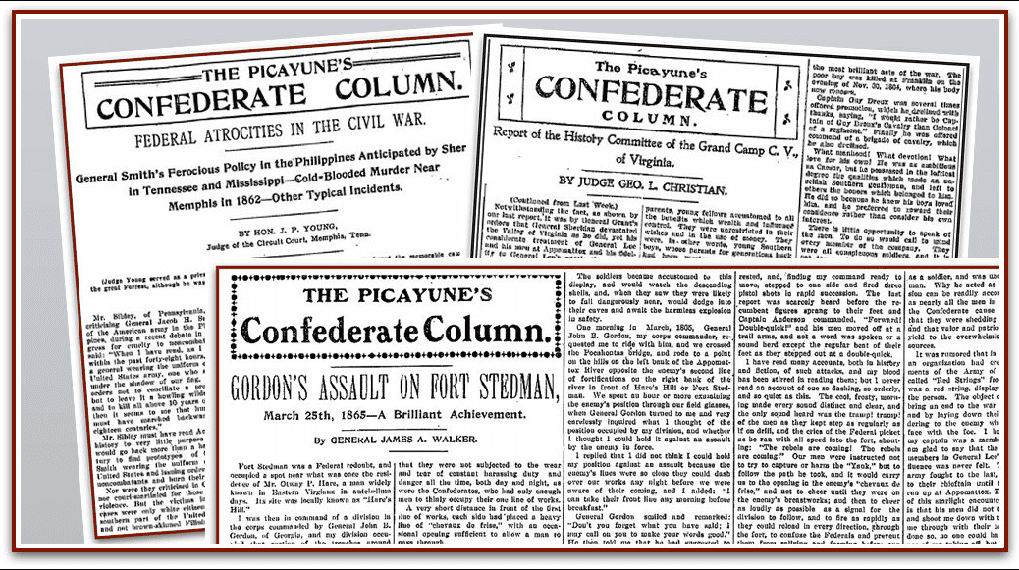 "montage of ""Confederate Columns"" from the Times-Picayune newspaper"