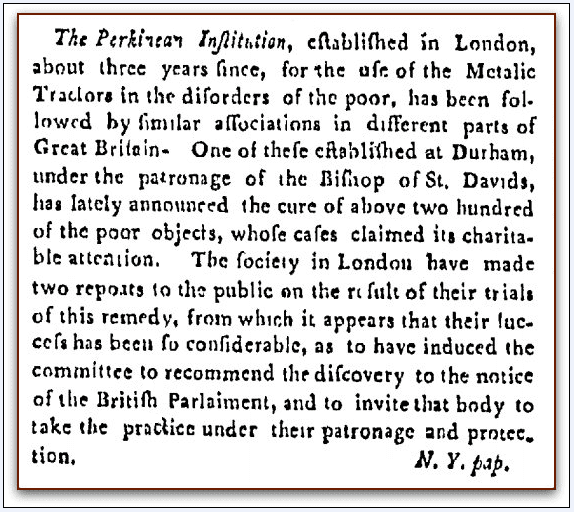 article about the Perkinsian Institution founded by Elisha Perkins, Norwich Courier newspaper article 10 July 1805