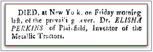 obituary for Elisha Perkins, Norwich Courier newspaper article 11 September 1799